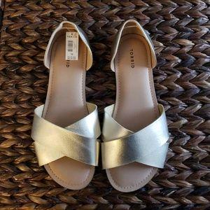 Torrid 10W Gold Sandals